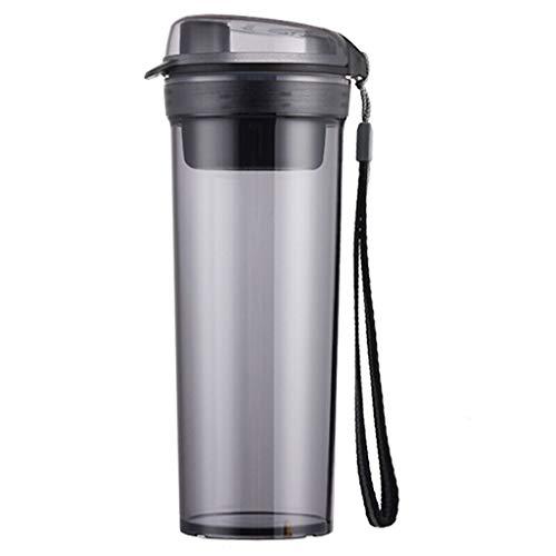 Xiaodou Outdoor Sportflasche aus Plastikbecher, Freier, Sealing, auslaufsicher Tee, Trennung Wasser-Schale, mit Filter Gitter Versiegelt Auslaufsicher Wasserflasche (Color : Black)