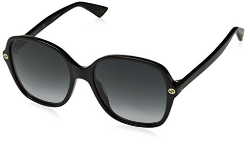 Fashion Shopping Gucci GG0092S 001 Black GG0092S Square Sunglasses Lens Category 3 Size 55mm