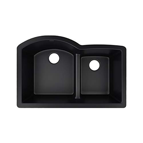 Elkay Quartz Luxe ELXHU3322RCA0 Caviar Offset 60/40 Double Bowl Undermount Sink with Aqua Divide