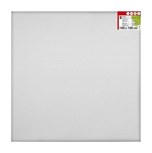 Marabu 1616000000102 - Keilrahmen, ca. 100 x 100 cm, Rahmentiefe ca. 1,8 cm, weiß, mit 380 g/qm Baumwolle bespannt, 3 fach grundiert, leicht saugend, für Acryl-, Öl-, Gouache- und Temperafarben