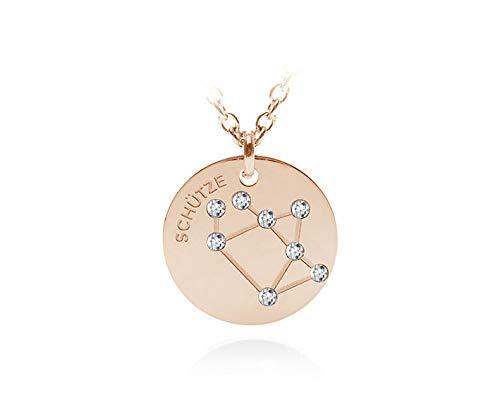 silvity Edelstahl Gravur Sternzeichen Kette veredelt mit Swarovski® Kristallen Farbe: Rosegold 679401-20-P (Schütze)