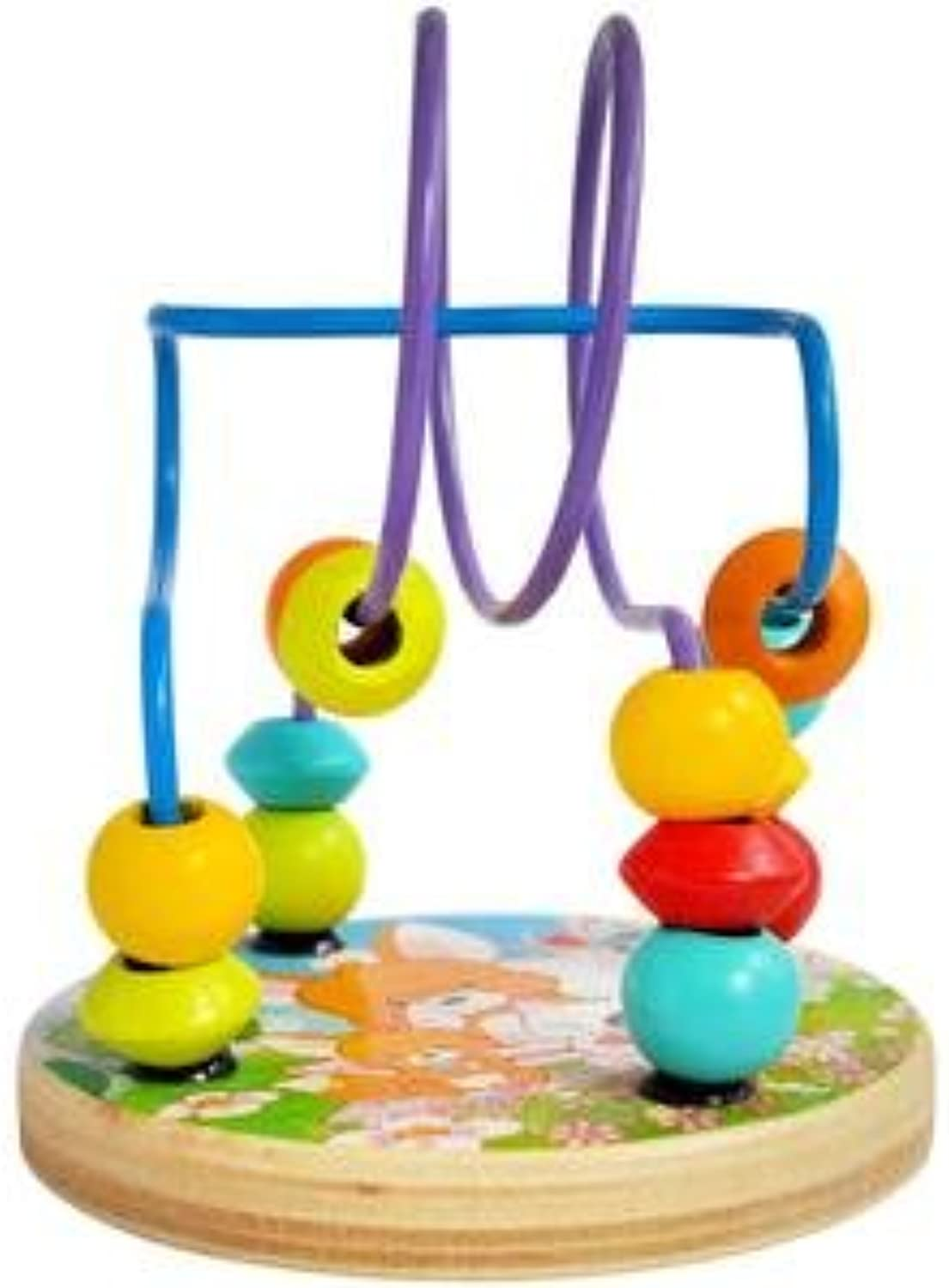 Baby Grow Wooden Beads Maze Puzzle Kids Game Roller Coaster (D1)