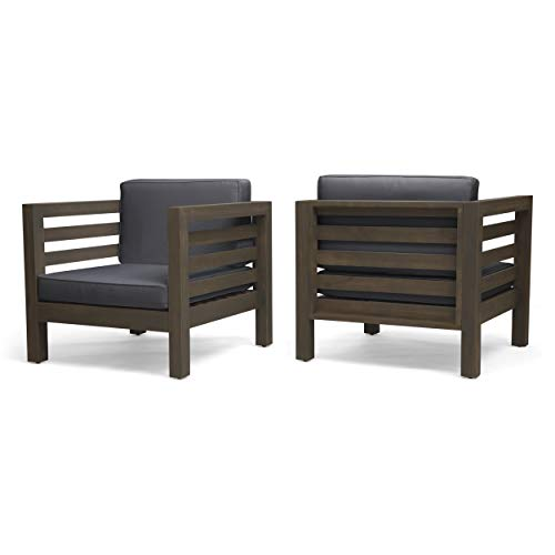 Great Deal Furniture Louise Outdoor Acacia Wood Club Chairs with Cushions (Set of 2), Gray Finish and Dark Gray