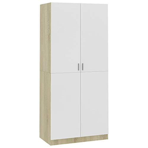 Irfora Kleiderschrank Weiss Holz 2 Türen Wardrobe Garderobenschränke Schlafzimmerschrank Holzschrank Allzweckschrank Schrank, mit Kleiderstange, 90×52×200 cm