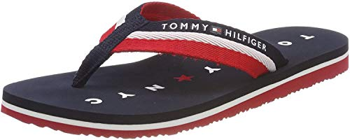 Tommy Hilfiger Damen TOMMY LOVES NY BEACH SANDAL Zehentrenner, Blau (Midnight 403), 39 EU