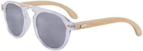 ZYIZEE Gafas de Sol Gafas de Sol para Mujer Gafas de Sol Redondas para Hombre Gafas para Mujer Gafas de Sol de Pierna de bambú Uv400-M2_Black_White