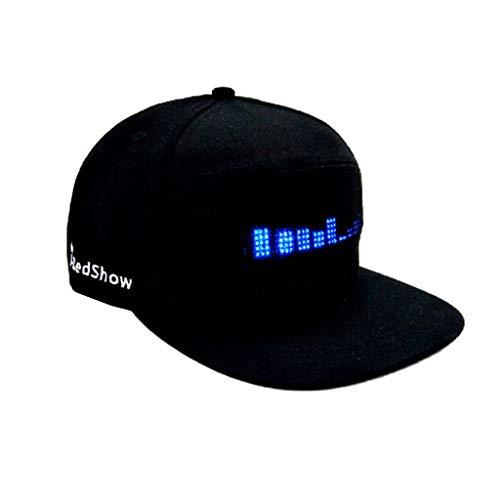 Gaddrt Mode Cap LED Cool Hat mit Bildschirm Licht wasserdichtes Smartphone gesteuert Cooler Hut (Black)