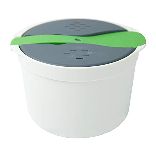 Microwave Rice Cooker 8 Cup Easy-Use Easy-Clean Microwaveable Brown White Rice Pasta Noodle Vegetable Cookware Plastic Rice Cooker Full Set with Lid Spatula Measuring Cup for Meal Prep Cooker