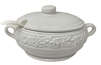 Northeast Home Goods White Ceramic Embossed Floral Covered Soup Tureen with Ceramic Ladle, 67.6 oz (2 Liter)