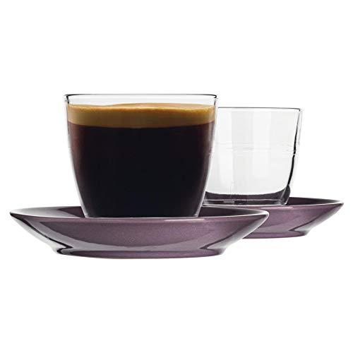 Duralex 12 Piezas de Cristal Gigogne Taza y platillo de cerámica Set - Taza del Vaso de Estilo Moderno para Latte Cappuccino - púrpura - 220ml
