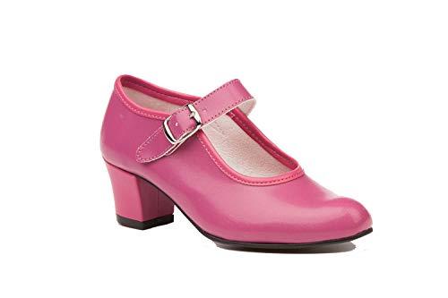 Zapatos Flamencas de Baile de Piel Fabricados en España. Disponible Desde la Talla 22 hasta la Talla 42 - Mi Pequeña Modelo 302I Color Beige,Amarillo,Blanco,Azul,Fuxia,Negro,Rojo y Verde.