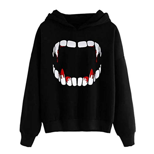 TUSANG Women Shirts Halloween Vampire Horror Blood Sweatshirt Hooded Pullover Tops Blouse Slim Fit Tunic Tops(Black,US-4/CN-S)