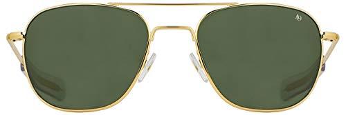AO Original Pilot Sunglasses - Gold - Calobar Green SkyMaster Glass Lenses - Bayonet Temple - Polarized - 57-20-140