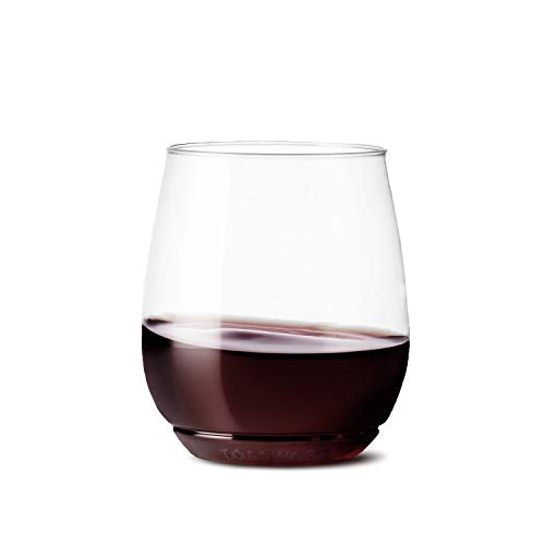 TOSSWARE 14oz Vino - recyclable wine plastic cup - SET OF 12 - stemless, shatterproof and BPA-free...