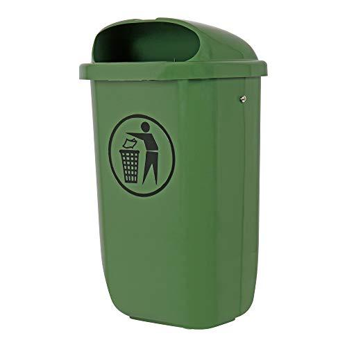 STIER Abfallbehälter mit Regenhaube, Volumen: 50 L, Farbe: Grün, Abmessung: 432 x 334 x 745 mm, Mülleimer hergestellt in Deutschland, zur Montage an Pfählen, Masten und Wänden