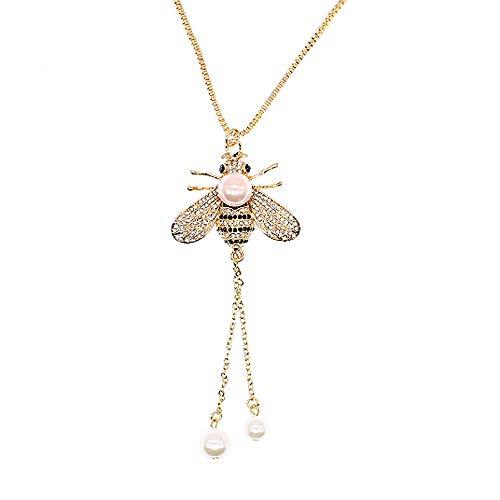 Collana con ciondolo a forma di ape con ciondolo a forma di ape e ciondolo a forma di animale con perle e perle lunghe color oro, per donne e ragazze, Cristallo Metallo Perla Shell,