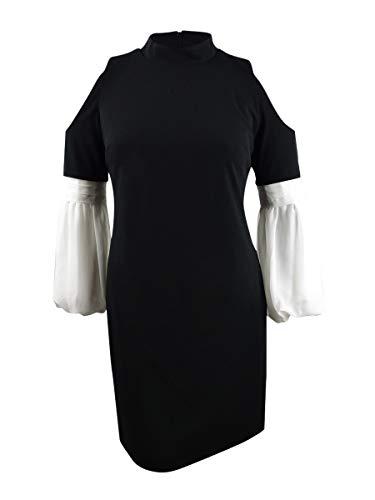 Vince Camuto Womens Chiffon Bubble Sleeve Cold Shoulder Crepe Ponte Dress Rich Black XS