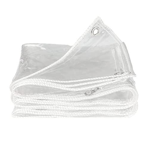 Telone trasparente con occhielli, tenda antipioggia da balcone, telo trasparente impermeabile, in tessuto trasparente in PVC, per mobili da giardino, auto, piscina, trampolino, 0,35 mm/365 g/m2