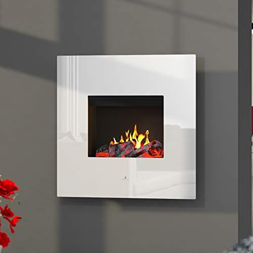 Noble Flame Orion Opti-Myst Elektrische open haard wandhaard - verwarming afstandsbediening decoratief hout - glazen klep wit hoogglans - achterwand zwart spiegelend