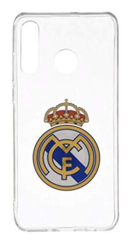 Wondee Global Services Carcasa del Real Madrid Transparente con Escudo a Color para Huawei P30 Lite
