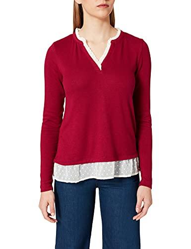 Springfield Camiseta Cuello Mao Bimateria, Granate, L para Mujer