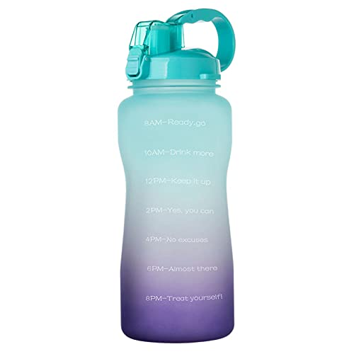 QAZW 64 oz Motivational Water Bottle with Time Marker to Remind You Drink More Water, Fast Flow, Leakproof BPA Free Sport Water Bottle for Fitness and Outdoor,Green/Purple-3.8L