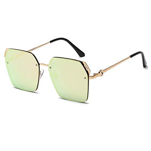 Gafas De Sol,Gafas De Sol Con Montura Poligonal Con Marco De Metal Pieza Oceánica Gafas De Sol Tendencia Moda Espejo De Visera De Marco Grande, Marco Dorado Polvo De Barbie