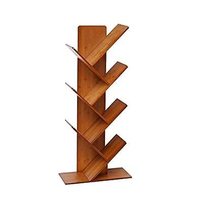 C&AHOME 7- Shelf Bamboo Bookshelf, Tree Bookcase