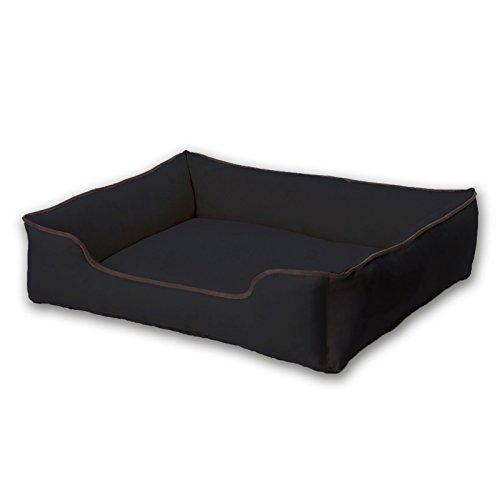 dibea DB00850, Hundebett in strapazierfähigen Oxfordgewebe (S) 65 x 50 cm schwarz, Hundesofa mit Reißverschluss, waschbare Bezüge, formstabile Füllung