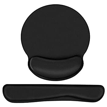 Keyboard Wrist Rest Mouse Pad Wrist Support,Memory Foam Ergonomic Wrist Pain Relief Non Slip Rubber Base Lightweight and Easy Typing for Home Gaming Office Computer Mac MacBook Pro Laptop,2 Pack,Black