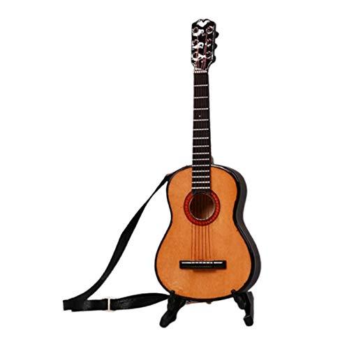 sharprepublic Modelo de Guitarra Eléctrica Popular de Madera Artesanal a Escala 1/6 con Soporte de Exhibición