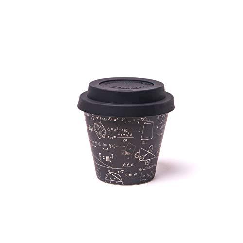 QUY CUP Tazza Espresso in bambù. 90ml. Einstein. Design Italiano Esclusivo. Realizzate con Fibre Naturali. Sostenibile. Senza BPA. Tazza Portatili e riutilizzabili. Bio-based Material. Coperchio INCL.