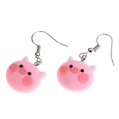 Pendientes para niñas, QWEA 4 * 3 * 1cm Pendientes de resina de cerdo tierno rosa de moda Pendientes de plástico simples y bonitos