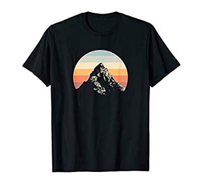 Mountain Sunset Circle Rainbow Outdoors Nature Hiking Fan T-Shirt