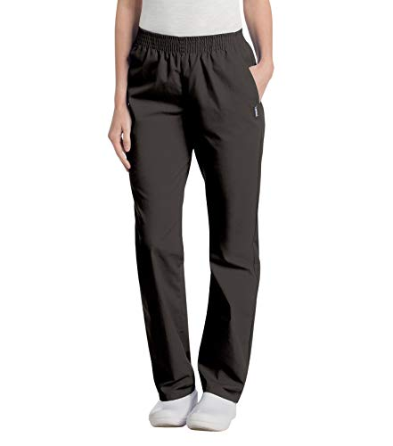 Landau Women's Comfortable Relaxed Fit 2-Pocket Elastic Waist Scrub Pant, Black, Large Petite