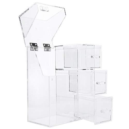 Alvinlite Organizador de Maquillaje, Porta brochas de Maquillaje con Tapa con 1 Cilindro de brochas de Maquillaje y 3 cajones para baño y Dormitorio