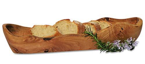Olivenholz Brotkorb BAGUETTE. Holzschale speziell für Baguette. 29 cm - 32 cm. Original Figura Santa Qualität!