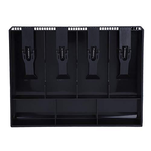 Inserto de cajón de caja registradora, caja de efectivo resistente y duradera, bandeja de inserción de caja registradora, tienda para restaurante, cafetería, supermercado(black)