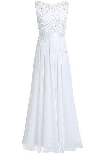 iEFiEL Damen Kleid Festliche Kleider Brautjungfer Hochzeit Cocktailkleid Chiffon Faltenrock Elegant Langes Abendkleid Partykleid Weiß 42