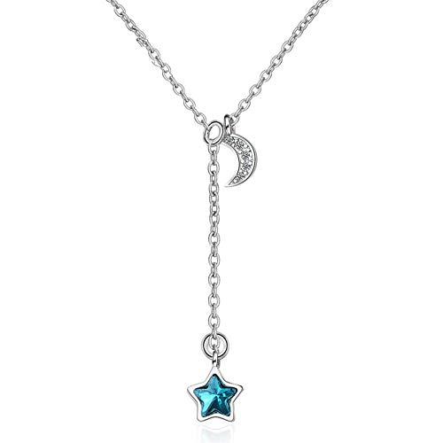 QFERW CollarLindo pequeño Collar de Plata 925con Estrella Azul Exquisito CollarSuéter Cadena Regalos Dulces y románticos para Amantes de la Pareja, Azul