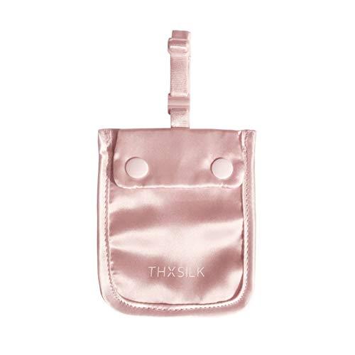 THXSILK Seide Brustbeutel Damen, Geheimer BH-Tasche aus 100% Seide, Anti-Diebstahl BH-Brieftasche mit Einstellbar Gummiband, Versteckte Stash-Tasche Geldbeutel für Reise und Sport, Rosa