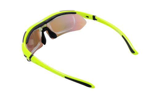 WOLFBIKE BYJ-013 Sonnenbrillen Radsport brille Fahrradbrille f. Außen Skilaufen Radfahren Fahrräder und andere Sport-Schutz mit 5 Wechselobjektiven (Grün) - 5