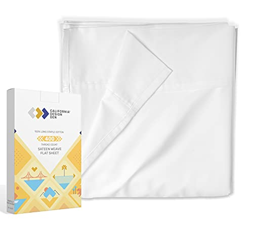 Flat Sheet Only - 400-Thread-Count King Size Pure White Top Sheet -...