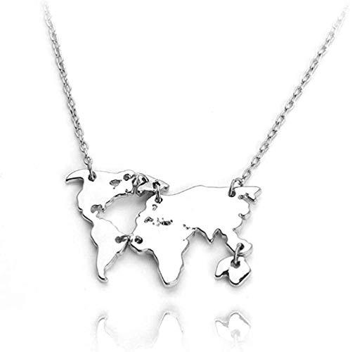 Zaaqio Collar Collares con Colgante de molécula de serotonina Collar de molécula de dopamina Collar de Mapa del Mundo Montaña Erkek Kolye