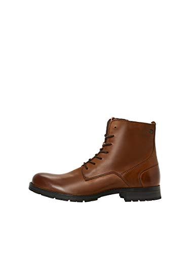 JACK & JONES JFWORCA Leather 19 STS, Chukka Boots Hombre, Marrón(Cognac Cognac), 46 EU