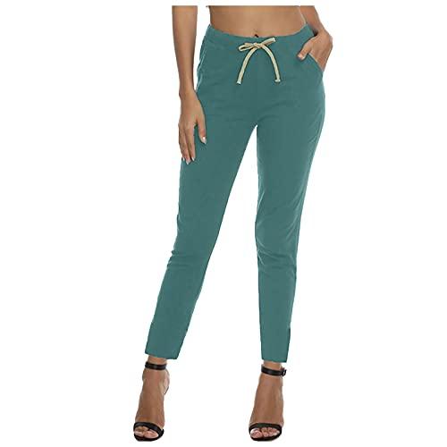 RONGCHUANG Pantalones de verano para mujer, de tejido monocolor, para tiempo libre, con cordón, cintura elástica, con bolsillos, informales, harén, estrechos, para correr verde XXL