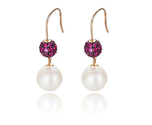 Daesar Orecchini In Oro Rosa 18 Carati Orecchini Pendenti per Donna Orecchini a Goccia Di perle D'Acqua Dolce Rubino