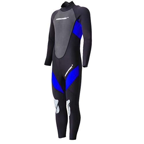 MagiDeal 3mm Neoprenanzug Herren Lang Surfanzug Schwimmanzug Tauchanzug Tauchen Surfen - Blau XL