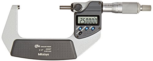 """Mitutoyo 293-342-30 Digimatic Outside Micrometer, 2-3""""/50.8-76.2 mm, 0.00005""""/0.001 mm with Standard Ratchet Stop"""