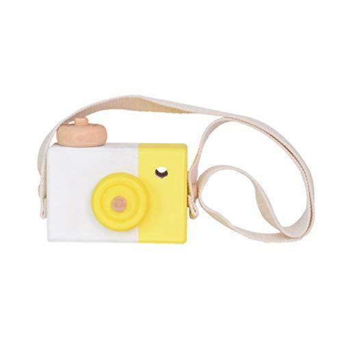 Supvox Minicámara de madera para niños (borde blanco y amarillo)